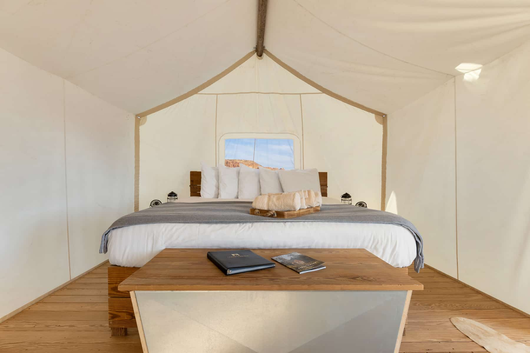 Suite Tent Interior Bed at Under Canvas Moab