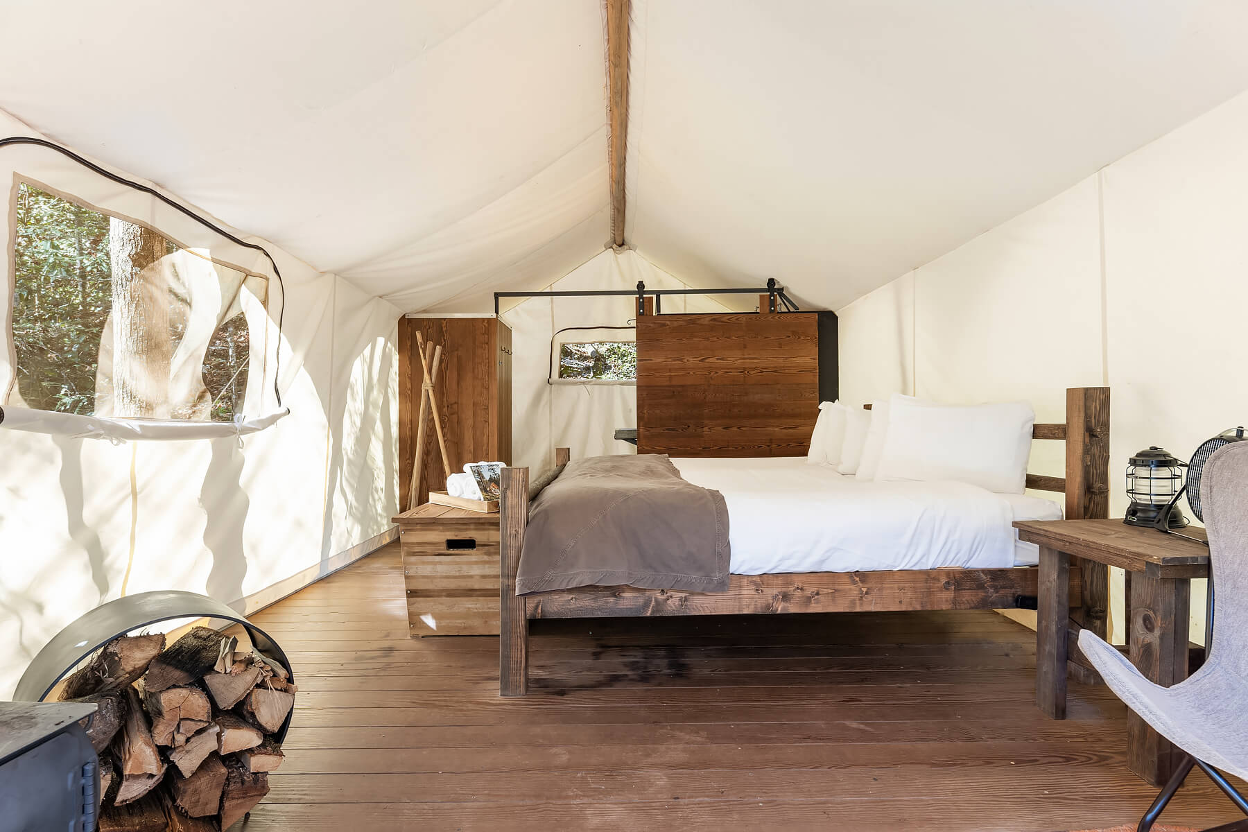 Deluxe Tent Interior at Under Canvas Great Smoky Mountains