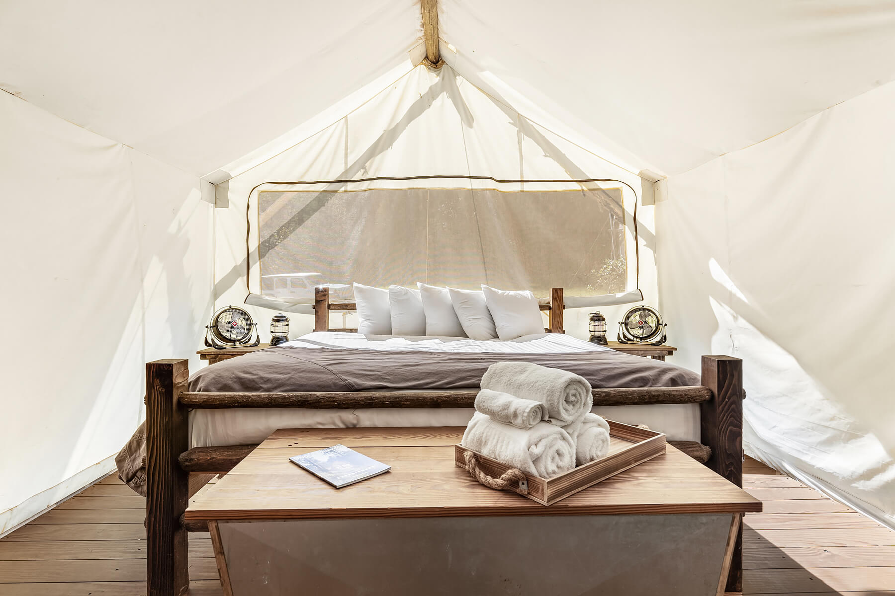 Suite Tent King Bed at Under Canvas Great Smoky Mountains