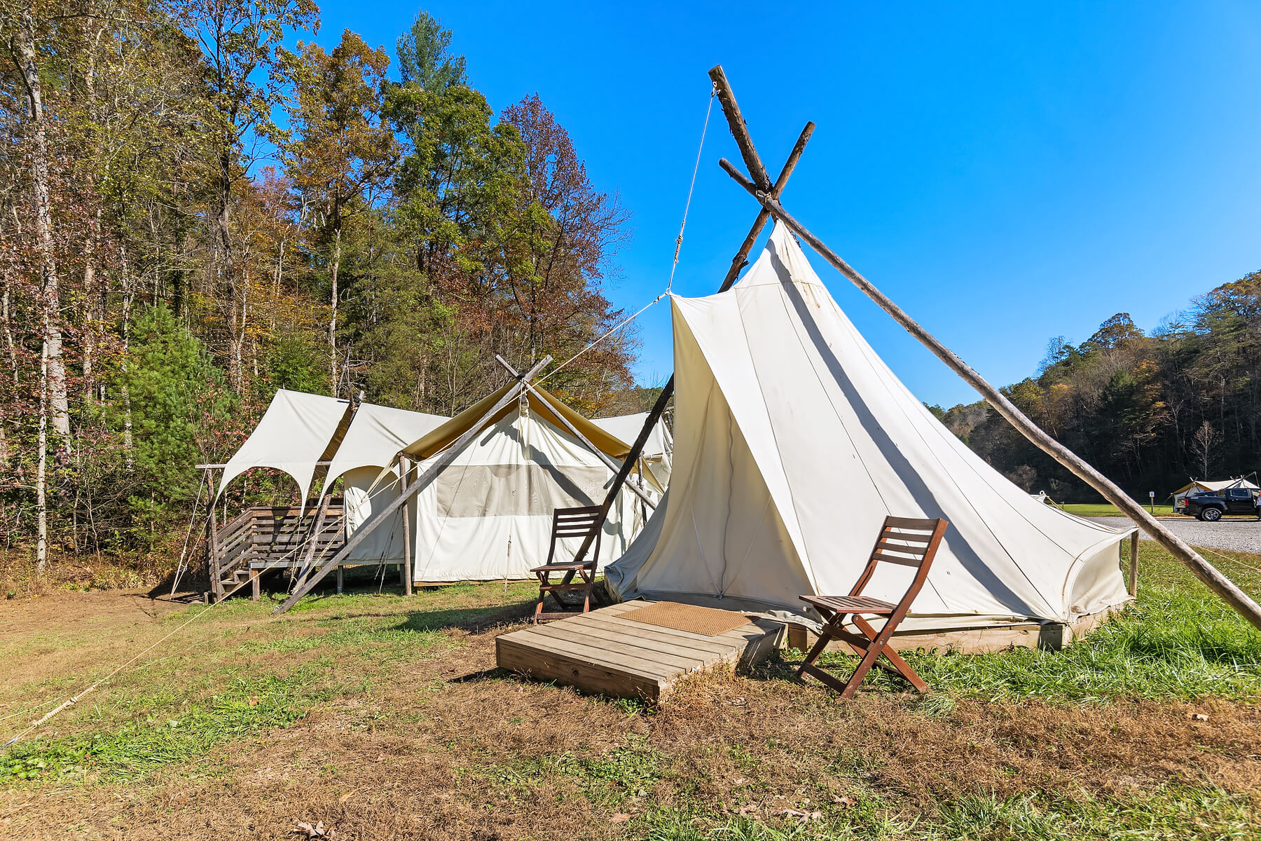 Suite with Kids Tent Exterior at Under Canvas Great Smoky Mountains