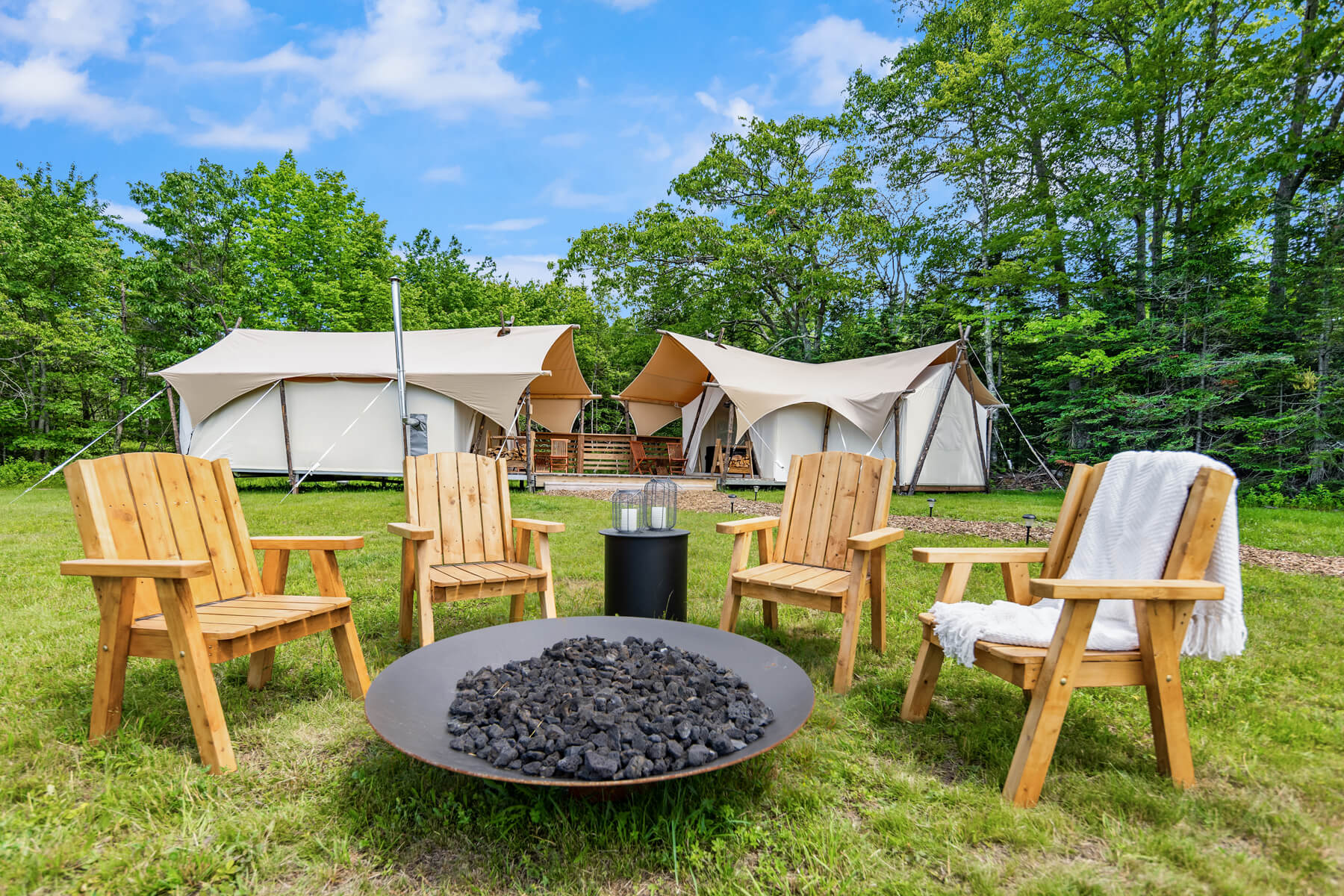 Cadillac Suite Tent Exterior with Private Firepit at Under Canvas Acadia